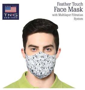 TNG White 100% Cotton Printed Face Mask White