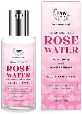 TNW-THE NATURAL WASH  Steam Distilled Rose Water/Toner/Makeup Remover (Free From Artificial Fragrance & Alcohol), 100 ml
