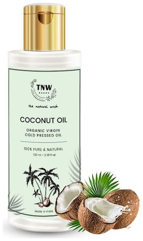TNW-THE NATURAL WASH Cold Pressed Virgin Coconut Oil Improves Healty Skin and Hair Texture Best For Men and Women Pure & Natural Enriching & Nourishing Oil For All age Groups - 100ml