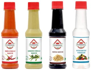 Tomezza Red Chilli Sauce,Green Chilli Sauce,SOYA Sauce and Synthetic Vinegar Combo Offer Pack of 4 (200g Each)