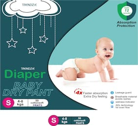 Trendzie Care Baby Dry Pant diapers S 50 pcs (Pack Of 1)