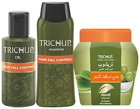 Trichup Anti - Hair Loss Treatment Kit (Hair Fall Control Oil (200 ml ) Hair Fall Control Shampoo (200 ml ) Hair Fall Control Cream (200 ml ) (Pack of 3)
