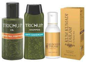 Trichup Complete Beauty Solution (Hair Fall Oil 200 ml Anti Dandruff Shampoo 200 ml Kum Kumatdi Tailam 50 ml ) (Pack of 3)