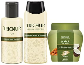 Trichup Healthy Hair Care Kit (Healthy Long & Strong Oil (200 ml ) Health Long & Strong Shampoo (200 ml ) Healthy Long & Strong Cream (200 ml ) (Pack of 3)
