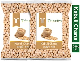Trinetra Best Quality Kabuli Chana Sabut (White Chickpeas Whole)-500g (Pack Of 2)