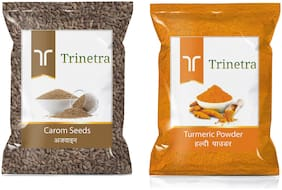 Trinetra Best Quality Ajwain 100g And Turmeric Powder/Haldi Powder 400g