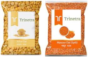 Trinetra Best Quality Arhar Dal 1kg And Masoor Dal (Split) 1kg