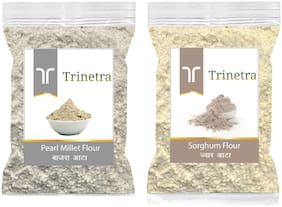 Trinetra Best Quality Bajra/Pearl Millet Atta 500g & Sorghum/Jowar Atta/Flour 1kg