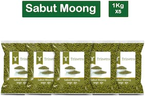 Trinetra Best Quality Moong Dal Sabut (Green Gram Beans Whole)-1kg (Pack Of 5)