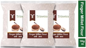 Trinetra Best Quality Ragi Atta (Finger Millet Flour)-1kg (Pack Of 3)