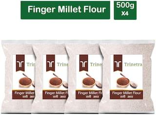 Trinetra Best Quality Ragi Atta (Finger Millet Flour)-500g (Pack Of 4)