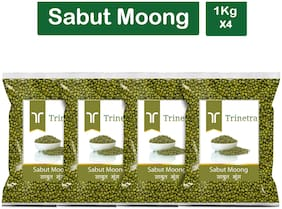 Trinetra Best Quality Moong Dal Sabut (Green Gram Beans Whole)-1kg (Pack Of 4)
