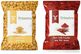 Trinetra Best Quality Red Chilli /Lal Mirch Powder 400g And Arhar Dal 1kg