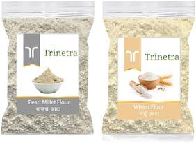 Trinetra Best Quality Wheat Flour/ Gehu Atta 1kg & Bajra/Pearl Millet Atta 1kg