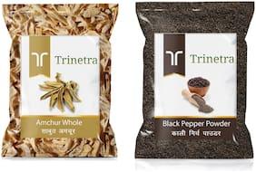 Trinetra Best Quality Black Pepper Powder/Kali Mirch 100g & Amchur Sabut 100g