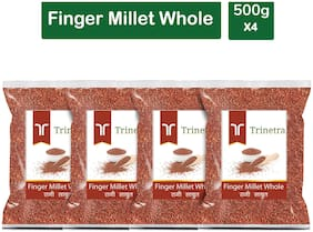 Trinetra Best Quality Ragi Sabut (Finger Millet Whole Grain) 500g (Pack Of 4)