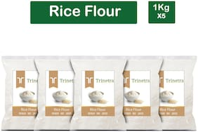 Trinetra Best Quality Chaval Atta (Rice Flour)-1kg (Pack Of 5)