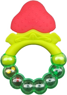 Triple B Natural BPA Free Silicone Teether with Rattle Toy for Babies - Pack of 1