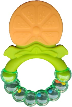 Triple B New Baby Teether with Rattle Fruit Shape Silicone Safe Teething Chew Toys Infants Pacifier - Pack of 1