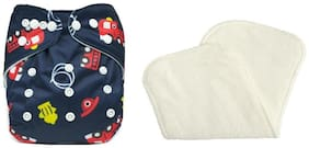 TRIPLE B Reusable Adjustable Washable Cloth Diaper Nappy Inner Cloths for Babies, with 3 Layer Microfiber Insert Pad Diaper Cover - 3 to 24 Months - Set of 1 with 1 Diaper-Liner
