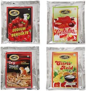 TRIPPLESTAR Citric Acid, Dry Yeast, Gelatin, Sodium Benzonate- 200 g Each(Pack of 4)