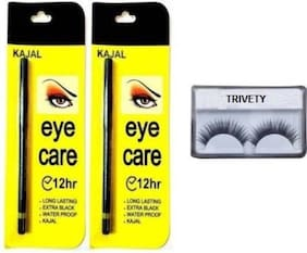 Trivety Eyecare Kajal Water & Smudge Proof 12 Hrs Pack Of 2 With False Eyelash Pack Of 2 Each