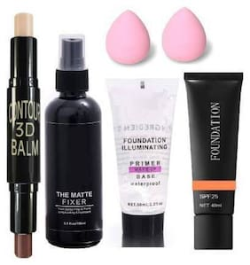 Trivety MAKEUP 3D BALM STICK WITH ALL GLAMOROUS GLOW SKIN FACE MAKEUP COMBO primer fixer with foundation 2 puff( multicolor)