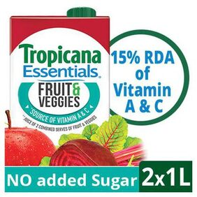 TROPICANA ESSENTIALS FRUIT &VEGGIES 1L PACK OF 2