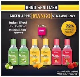 True Derma Essentials Strawberry;Mango;Green Apple;(2 each) Instant Hand Sanitizer 60 ml (Pack of 6)