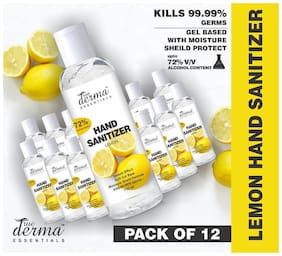 True Derma Essentials Lemon - 72% Isopropyl Alcohol Hand Sanitizer (Instant Dry;Rinse Free;Non-sticky)-110ml (Pack of 12)