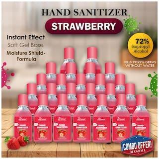True Derma Essentials Strawberry;Instant Dry 72% IPA;Hand Sanitizer 60 ml (Pack of 24)