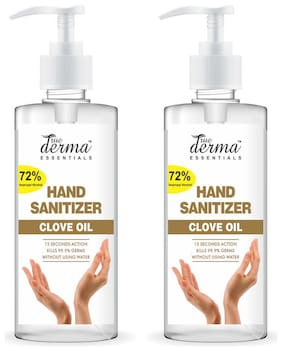 True Derma Essentials Clove- 72% Isopropyl Alcohol Hand Sanitizer(With Dispenser)Instant Dry;Rinse Free;Non-sticky -500 ml (Pack of 2)