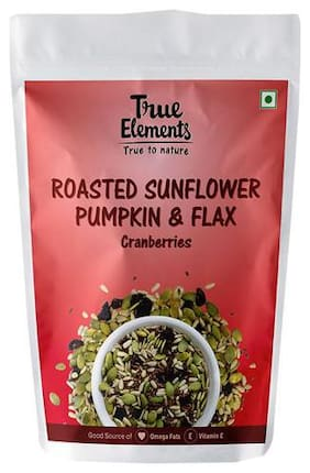 True Elements Sunflower Pumpkin & Flax Seeds - Roasted, Cranberries, Harippa 125 g