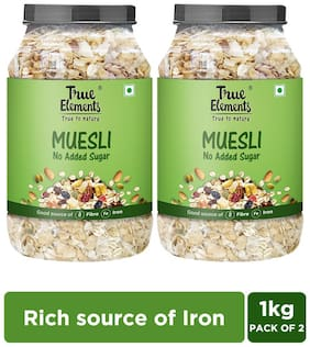 True Elements No Added Sugar Muesli for healthy breakfast 1000 g Each (Pack of 2)