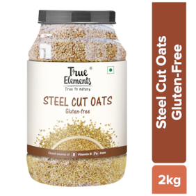 True Elements Steel Cut Oats for Healthy Breakfast 2kg, Protein Rich Oats