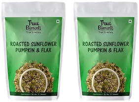 True Elements Roasted Sunflower Pumpkin and Flax Seeds 500 g each (pack of 2)