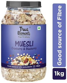 True Elements Cranberry And Blueberry Museli 1000 gm