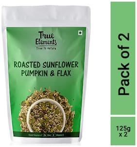 True Elements Roasted Sunflower Pumpkin and Flax Seeds 125g each (pack of 2)