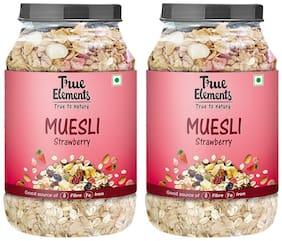 True Elements Strawberry Muesli 1000gm Each (Pack of 2)