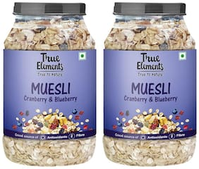 True Elements Cranberry and Blueberry Muesli (1000gm*Pack of 2)
