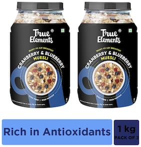 True Elements Cranberry and Blueberry Muesli (1000 g*Pack of 2)