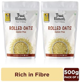 True Elements Rolled Oats Gluten Free 500 g Each (Pack of 2)