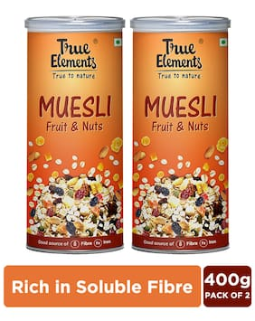 True Elements Fruit and Nut Muesli (400g* Pack of 2)