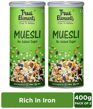True Elements No Added Sugar Muesli 400g Each (Pack of 2)