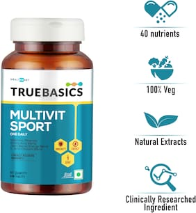 TrueBasics Multivit Sport One Daily; Multivitamins; Multiminerals; Anti-oxidants; Amino Acids with Joint & Energy Blends; Nutrition Supplement for bodybuilding & gym goers; 30 Veg Tablets