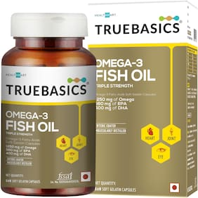 TrueBasics Omega-3 Fish Oil Triple Strength with 1250mg of Omega (560mg EPA & 400mg DHA) for Healthy Heart; Eye & Joints - 60 Softgels