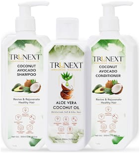 TRUNEXT Aloevera Coconut Oil 200ml+ Coconut Avocado Shampoo 300ml + Coconut Avocado Conditioner 300m-No Paraben, Sulphate & Natural Hair products- Hairkit-Haircare Combo