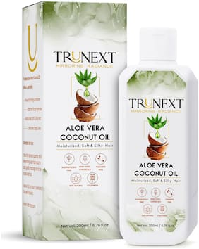 TruNext NATURAL ALOE VERA COCONUT HAIR OIL 200ML - WITH NATURAL HERB EXTRACTS, NO PARABEN AND NO SULPHATE CONTROLS HAIR FALL, FIGHTS DANDRUFF, FOR BEST ENRICHMENT AND NOURISHMENT OF HAIR