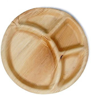 TSP Areca Palm Leaf 12 inch Round Brown Disposable Plate with 4 deep Compartment for Party and Function (Pack of 50)