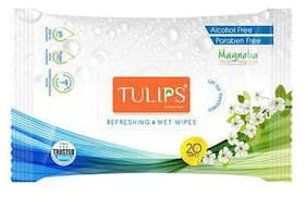 Tulips Refreshing Wet Wipes - Mangolia Floral Fragrance 20 Pulls